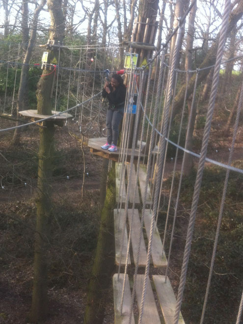 Anne getting ready to head across the zip wire