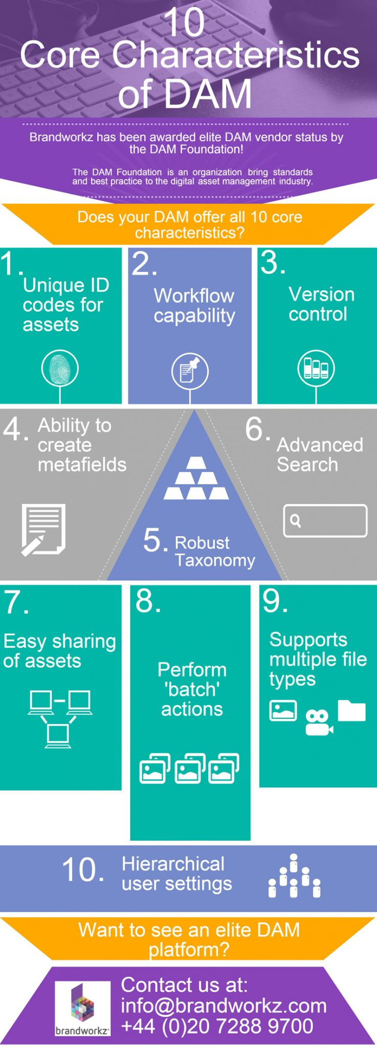 This infographic looks at the 10 core characteristics of a great digital file management system as laid out by the DAM Foundation.