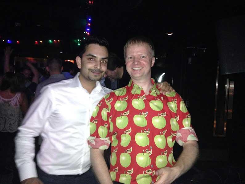 Hari and Jens in his Christmas shirt