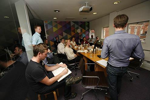 Ollie - head of UI at Brandworkz presenting