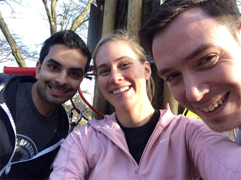 There is always time for a selfie, Hari, Abby and James