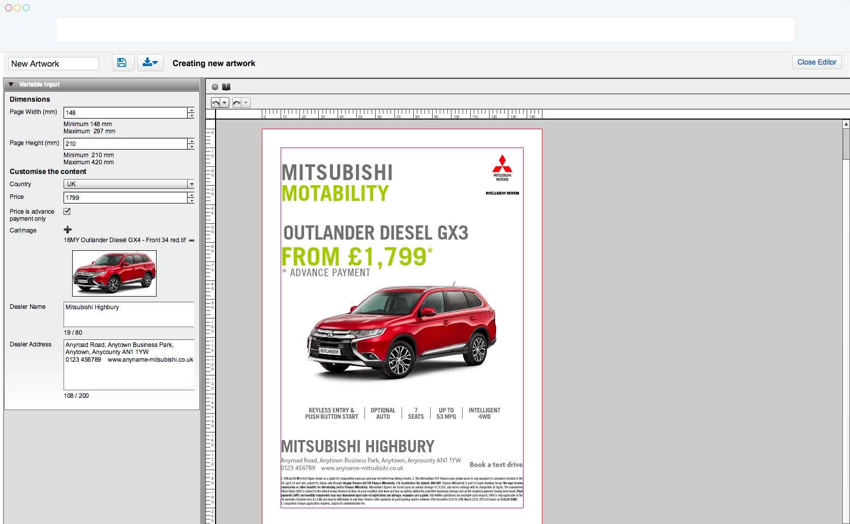 Web-to-Publish Mitsubishi