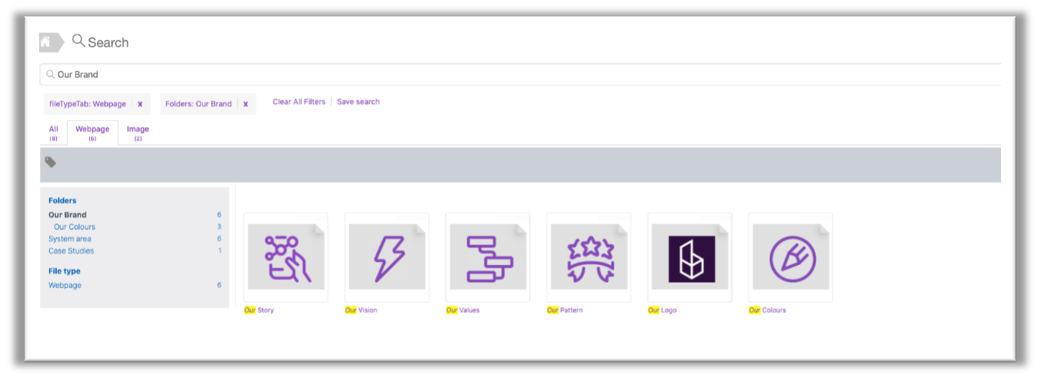 Custom thumbnails in search for folders and webpages